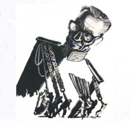 Shah caricature pagoons bg